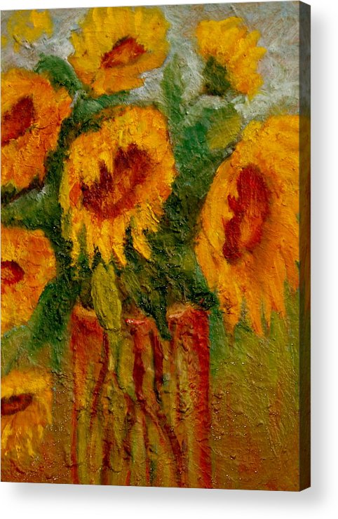 Flowers/sunflower/bouquet Acrylic Print featuring the painting My Sunshine by Marie Hamby