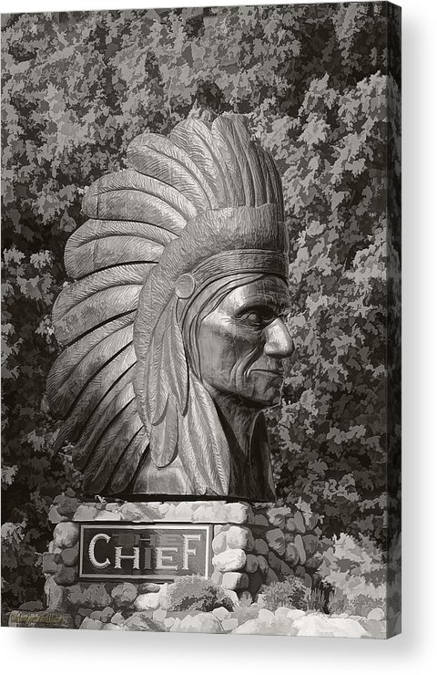 Native-american Acrylic Print featuring the photograph Native American Statue Monochrome by LeeAnn McLaneGoetz McLaneGoetzStudioLLCcom