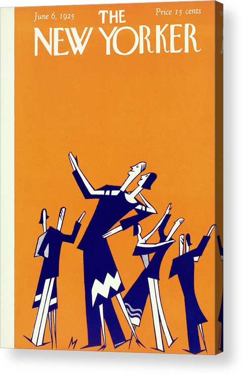 Illustration Acrylic Print featuring the painting New Yorker Magazine Cover Of Couples Dancing by Julian De Miskey