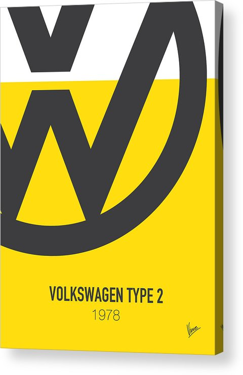 Volkswagen Acrylic Print featuring the digital art No009 My Little Miss Sunshine Minimal Movie Car Poster by Chungkong Art