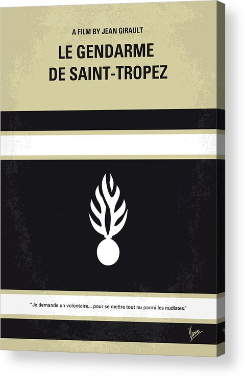 Le Acrylic Print featuring the digital art No186 My Le Gendarme De Saint-tropez Minimal Movie Poster by Chungkong Art