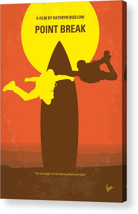 Point Acrylic Print featuring the digital art No455 My Point Break Minimal Movie Poster by Chungkong Art