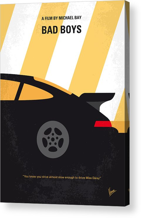 Bad Acrylic Print featuring the digital art No627 My Bad Boys Minimal Movie Poster by Chungkong Art
