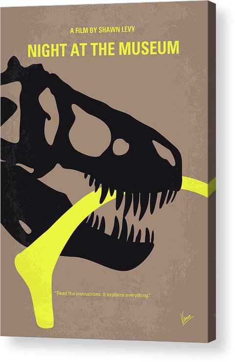 Night Acrylic Print featuring the digital art No672 My Night At The Museum Minimal Movie Poster by Chungkong Art