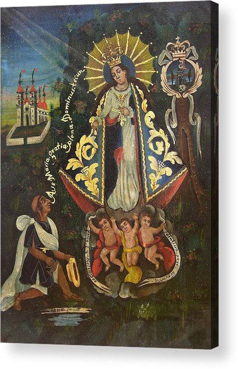 Devotional Acrylic Print featuring the painting Nuestra Senora De Ocotlan II by Unknown