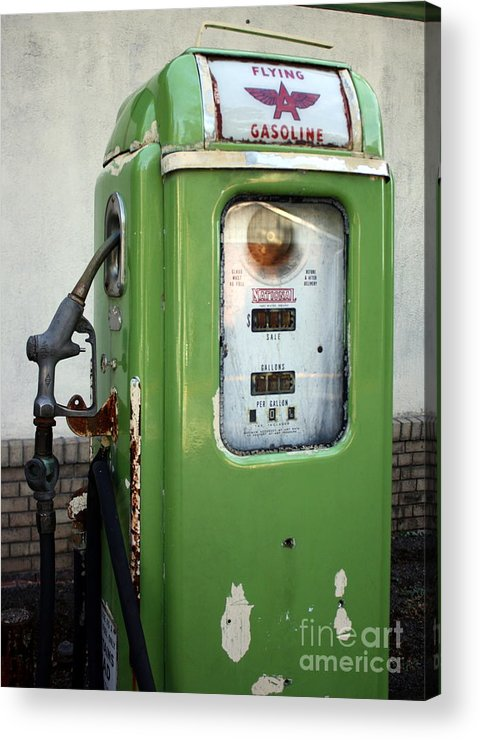 Gasoline Acrylic Print featuring the photograph Old National Gas Pump by DazzleMePhotography