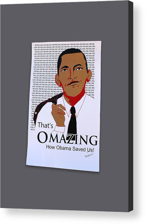 Omazing Obama Acrylic Print featuring the digital art Omazing Obama 1.0 by Shirley Whitaker