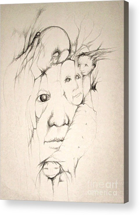 One Eye Acrylic Print featuring the drawing One Man's Vision by Stephanie H Johnson