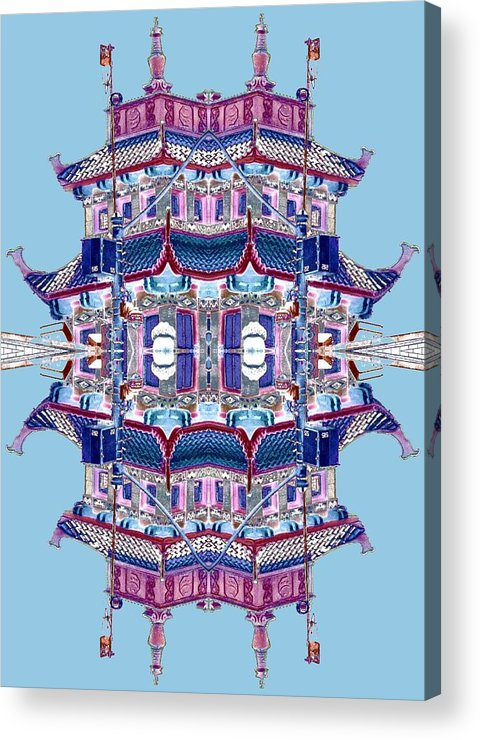 China Town Acrylic Print featuring the photograph Pagoda Tower Becomes Chinese Lantern 2 Chinatown Chicago by Marianne Dow