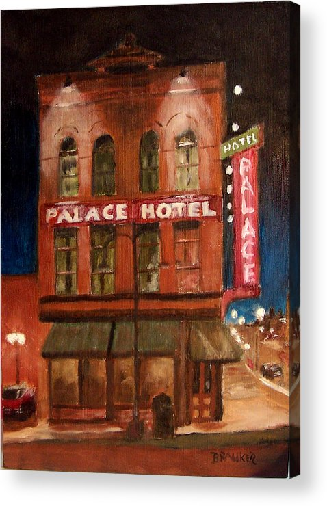Cityscape Acrylic Print featuring the painting Palace Hotel by Bill Brauker