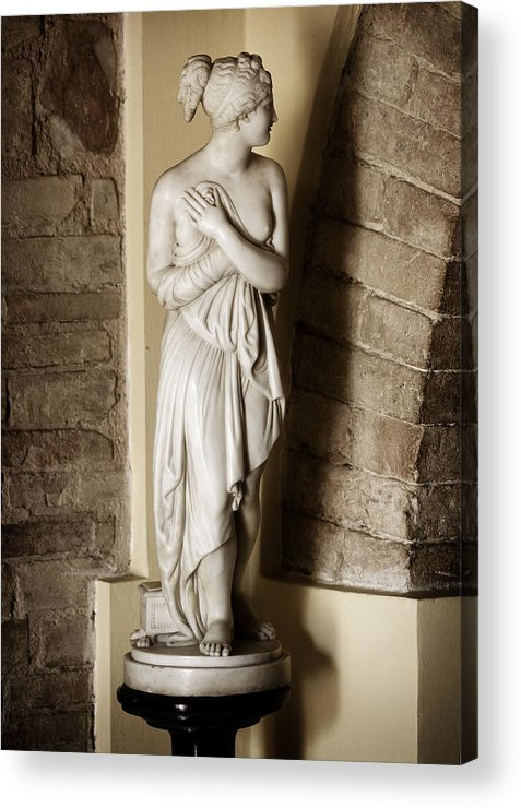 Statue Acrylic Print featuring the photograph Peering Woman by Marilyn Hunt