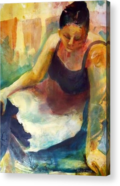 Female Figure Acrylic Print featuring the painting Pensive by Buff Holtman