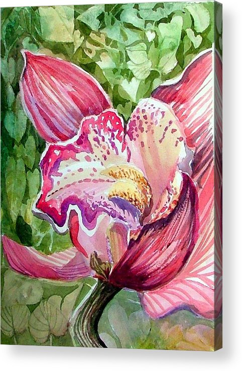 Orchid Acrylic Print featuring the painting Pink Orchid by Mindy Newman