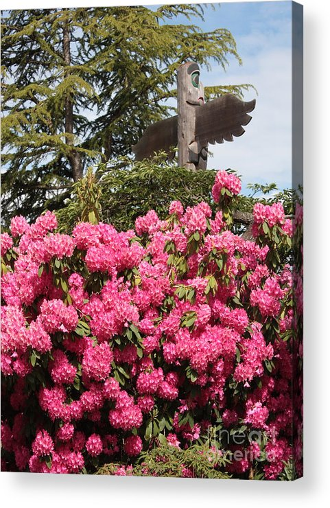 Northwest Acrylic Print featuring the photograph Pink Rhododendrons With Totem Pole by Carol Groenen