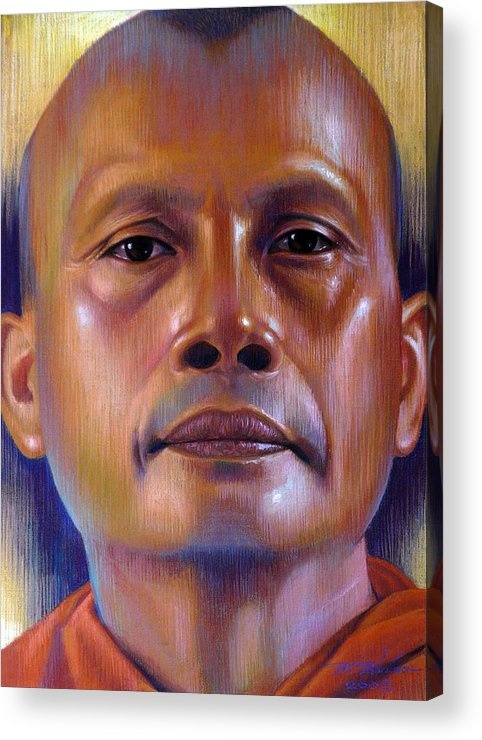 Monk Acrylic Print featuring the painting Pisal Dhama Phatee by Chonkhet Phanwichien