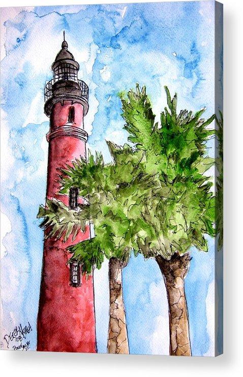 Ponce De Leon Acrylic Print featuring the painting Ponce De Leon Inlet Florida Lighthouse Art by Derek Mccrea