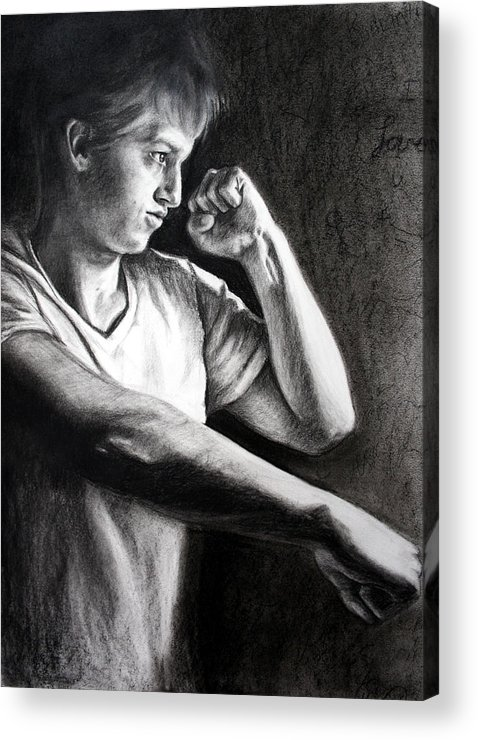Portrait Acrylic Print featuring the drawing Portrait by Maryn Crawford