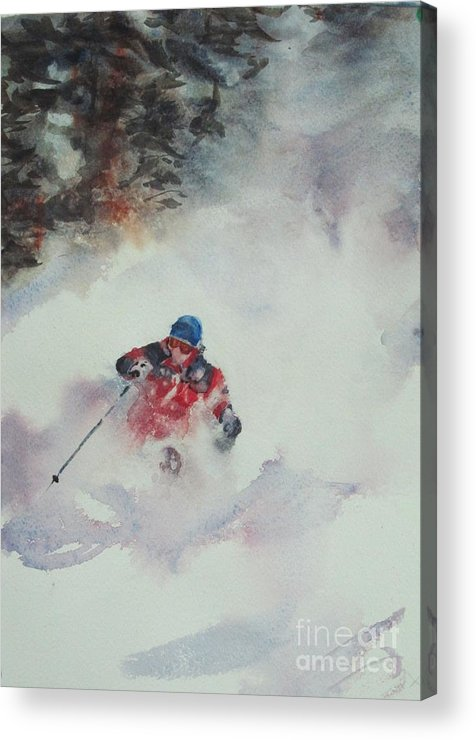 Skiing Acrylic Print featuring the painting Powder by Elizabeth Carr