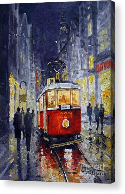 Oil Acrylic Print featuring the painting Prague Old Tram 06 by Yuriy Shevchuk