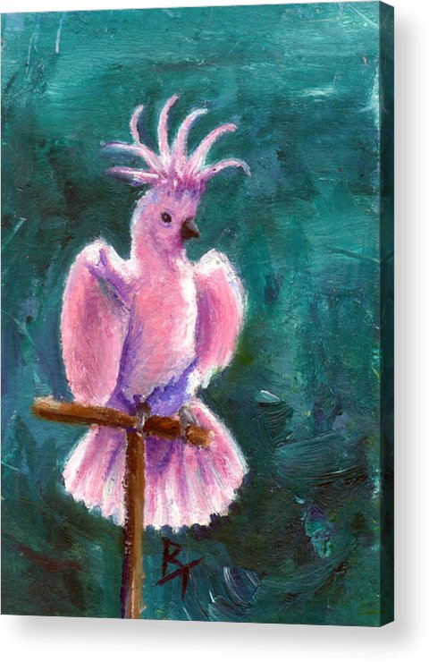 Bird Acrylic Print featuring the painting Pretty In Pink Aceo by Brenda Thour
