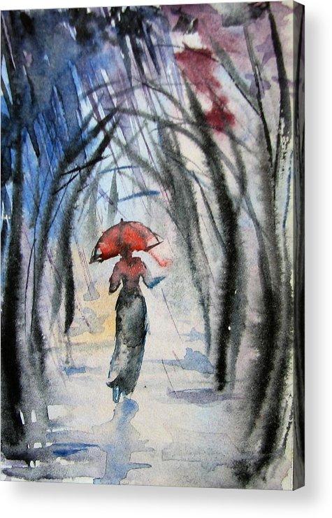 Rain Acrylic Print featuring the painting Rainy Fantasy With Red Umbrella by Natalja Picugina