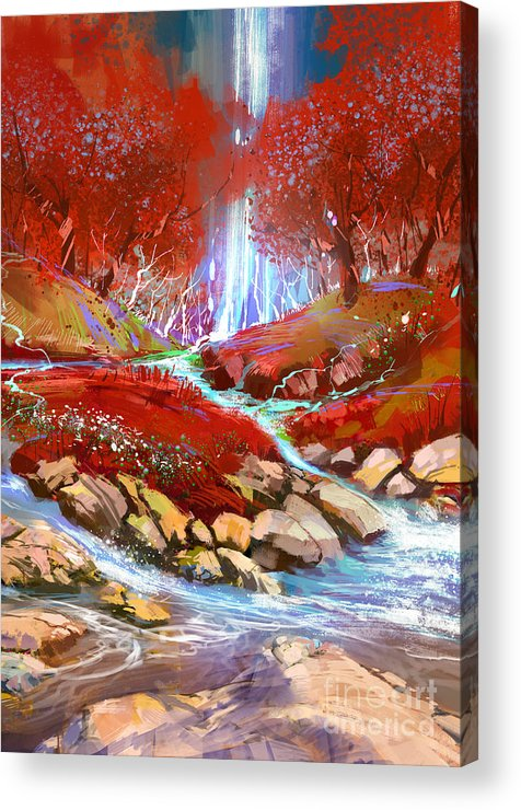 Abstract Acrylic Print featuring the painting Red Forest by Tithi Luadthong