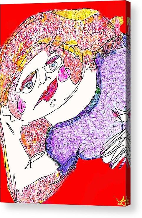 Woman Acrylic Print featuring the digital art Red by Joyce Goldin
