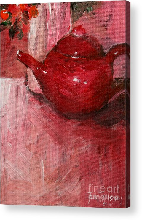 Red Acrylic Print featuring the painting Red Pot by Jun Jamosmos