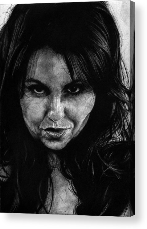 Portrait Girl Woman Sketch Drawing Charcoal Art Traditional Life Thought Smile Beautiful Expression Acrylic Print featuring the drawing Reel Romance by Priscilla Vogelbacher