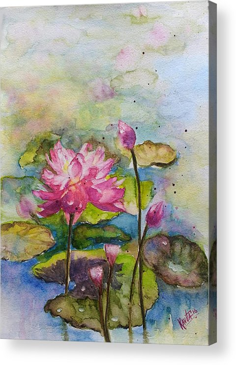 Lotus Acrylic Print featuring the painting Rise And Shine by Kavita Vardhan