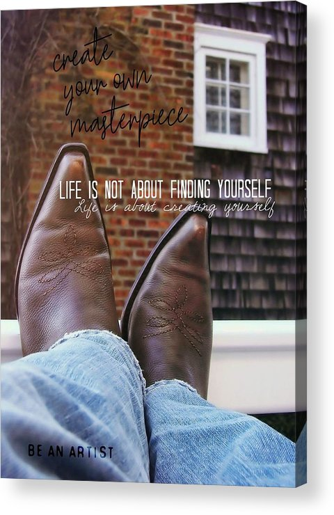 Cowboy Acrylic Print featuring the photograph Rocking Kicks Quote by JAMART Photography