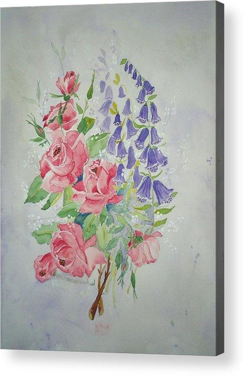 Roses Flowers Acrylic Print featuring the painting Roses And Digitalis by Irenemaria Amoroso