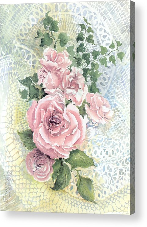 Roses;pink Roses;ivy;lace;floral; Acrylic Print featuring the painting Roses And Lace by Lois Mountz