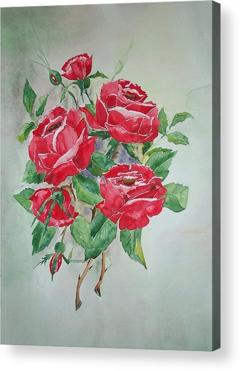 Roses Flowers Acrylic Print featuring the painting Roses by Irenemaria Amoroso