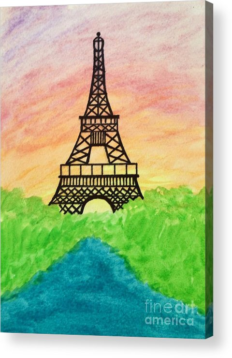 Paris Acrylic Print featuring the painting Saffron Sunset Over Eiffel Tower In Paris-watercolour by Sylvie Marie