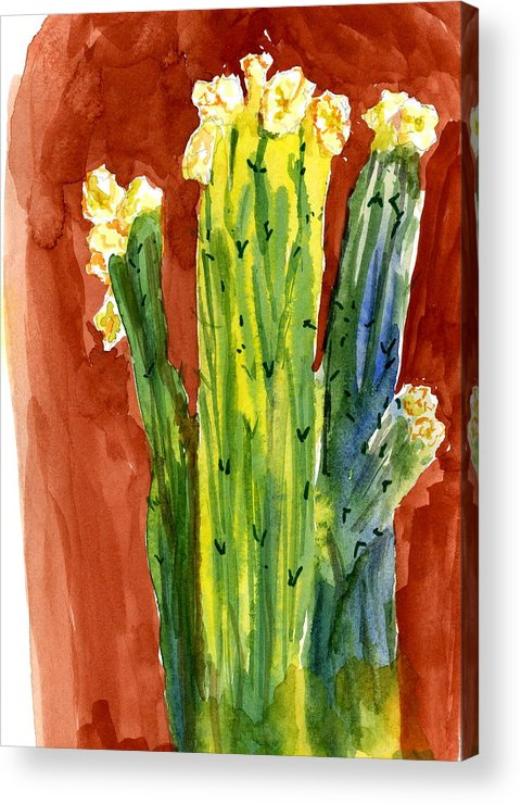 Bright Acrylic Print featuring the painting Saguaros And Their Hats by Marilyn Barton