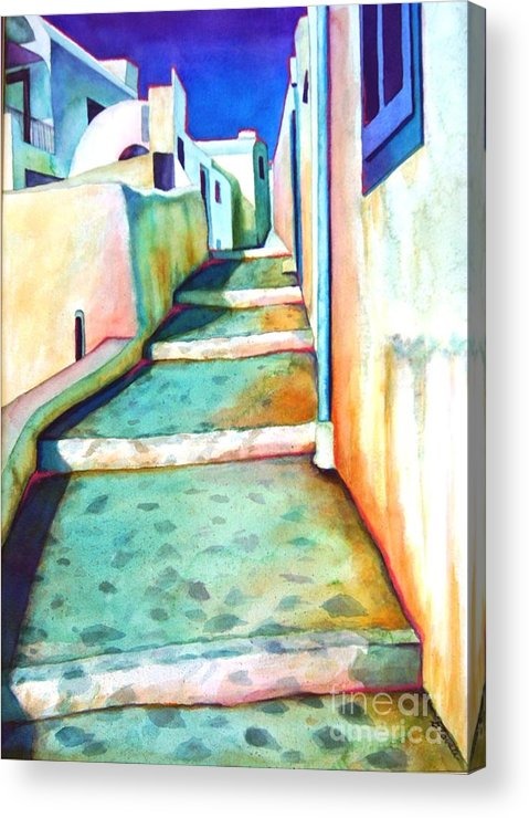 Santorini Acrylic Print featuring the painting Santorini Steps by Gail Zavala