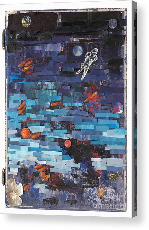 Astronaut Acrylic Print featuring the mixed media Sea Space by Jaime Becker