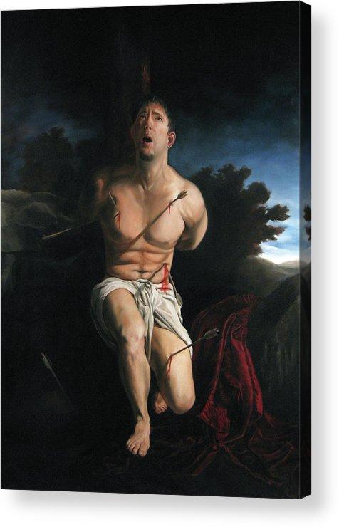 Saint Sebastain Acrylic Print featuring the painting Self Portrait As St. Sebastian by Eric Armusik