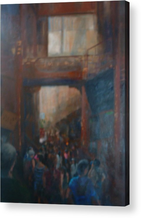 Figureative Acrylic Print featuring the painting Shopping In Shanghai by Bryan Alexander