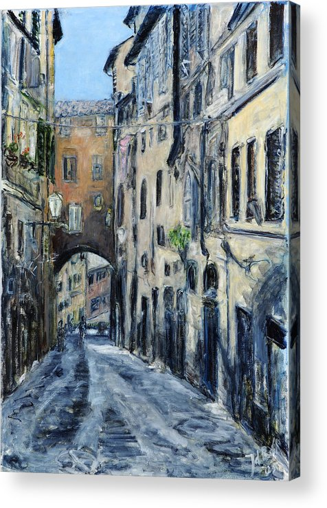 Cityscape Siena Italy Archway Street Houses Acrylic Print featuring the painting Siena Porta by Joan De Bot
