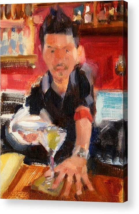 Figurative Acrylic Print featuring the painting Skyey At The Far Bar by Merle Keller