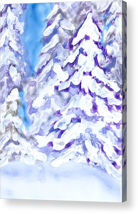 Landscape Acrylic Print featuring the painting Snow Laden Trees by Wanda Pepin