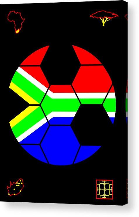 South African Flag Acrylic Print featuring the digital art South African Joy V by Asbjorn Lonvig