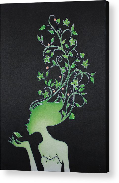 Girl Acrylic Print featuring the painting Spring Girl by Tatiana Antsiferova