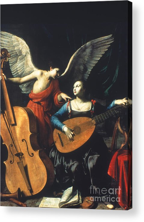 1600 Acrylic Print featuring the painting St. Cecilia And The Angel by Granger