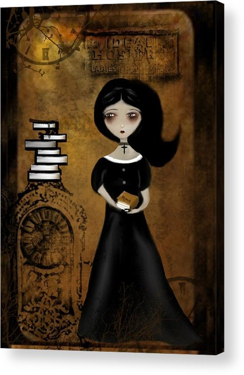 Digital Art Acrylic Print featuring the digital art Steampunk Bibliophile by Charlene Zatloukal