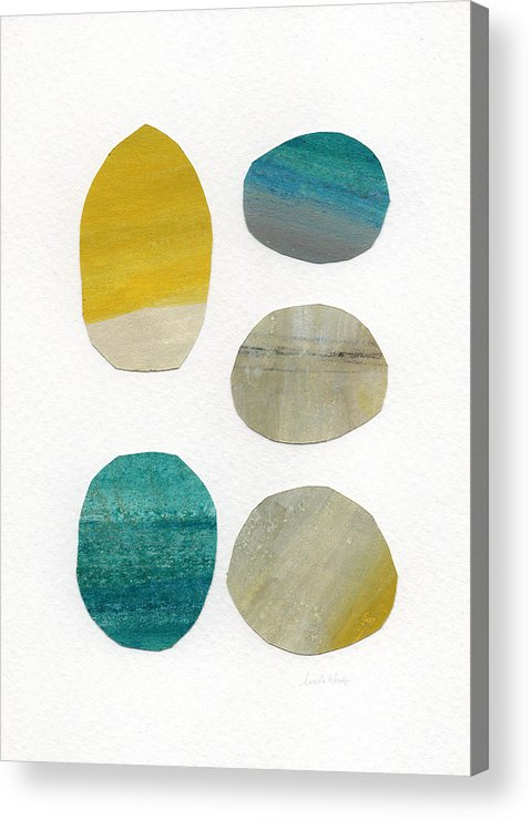Abstract Art Acrylic Print featuring the mixed media Stones- Abstract Art by Linda Woods
