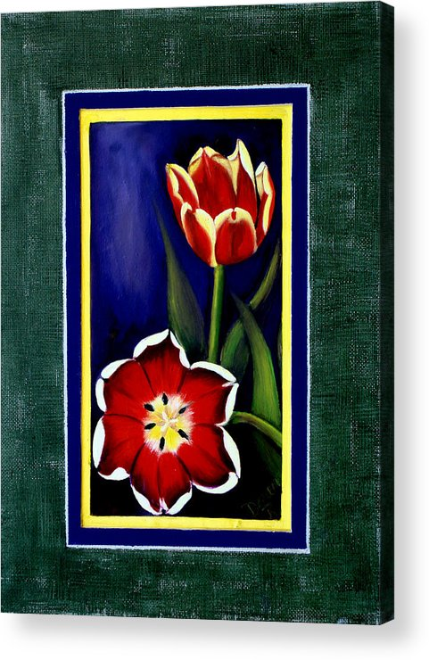Tulips Acrylic Print featuring the painting Sweetheart Tulips by Darlene Green