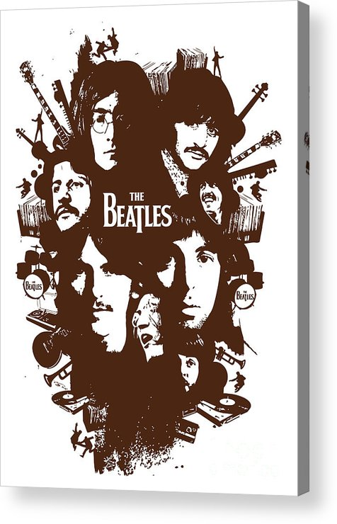 The Beatles Acrylic Print featuring the digital art The Beatles No.15 by Caio Caldas